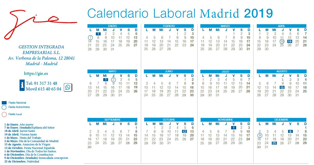Calendario Laboral Comunidad De Madrid.Calendario Laboral 2019 Comunidad De Madrid Grupo Gie